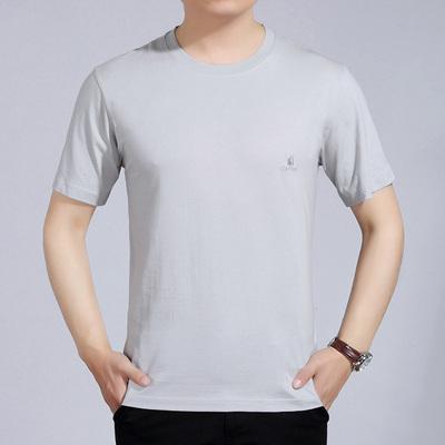 Đặc biệt hàng ngày người đàn ông trung niên của ngắn tay T-Shirt mùa hè trung niên và người già mỏng phần vòng cổ màu rắn bông lỏng kích thước lớn áo cộc tay Áo phông ngắn