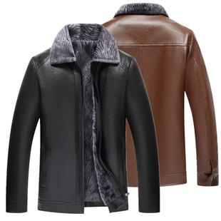 秋冬季中老年皮衣皮毛一體男士皮夾克大碼寬松爸爸裝加絨加厚外套