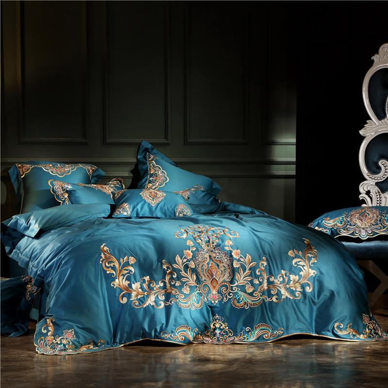 限量发售 精工刺绣100支匹马棉贡缎四件套 高档绣花长绒棉床品
