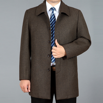 Len áo khoác nam dài áo khoác mùa thu và mùa đông nam trung niên len len áo gió áo khoác XL Áo len