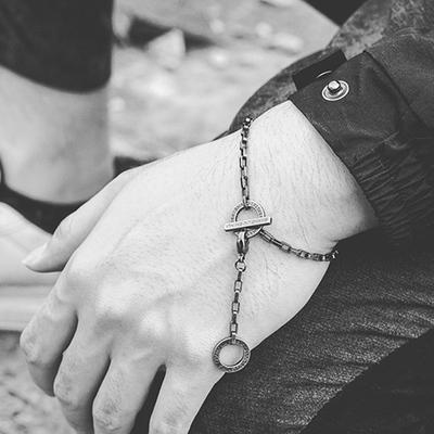 欧美极简复古百搭锁链 男女款手链时尚简约情侣链子手个性饰品