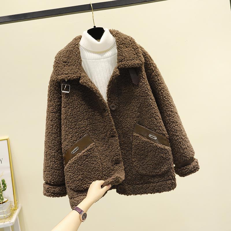 羊羔毛绒皮毛一体外套女2021新款秋冬季韩版短款颗粒绒小个子大衣