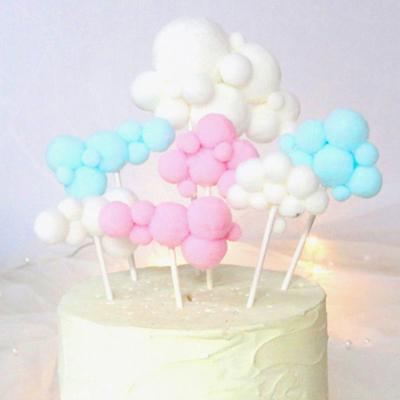 大号彩色立体云朵插旗毛绒球插件