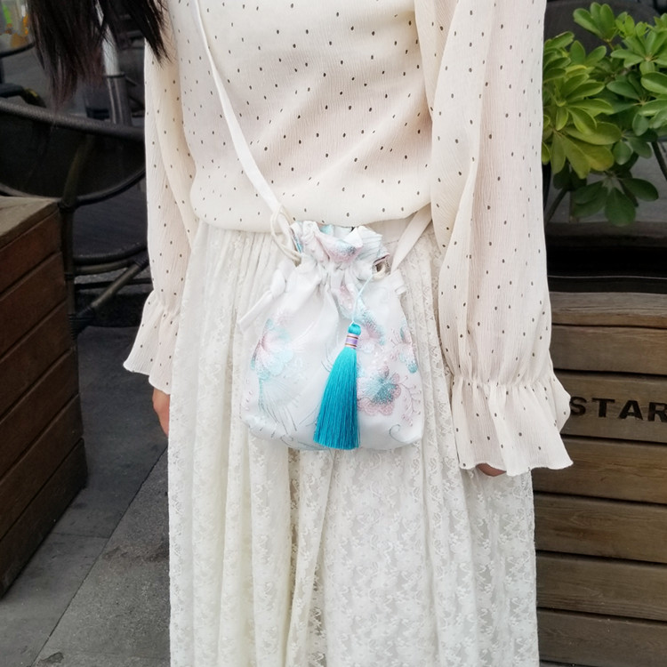 New Mori small bag ancient style Hanfu bag Chinese style fairy embroidered crossbody bag shoulder bag with costume cloth purse