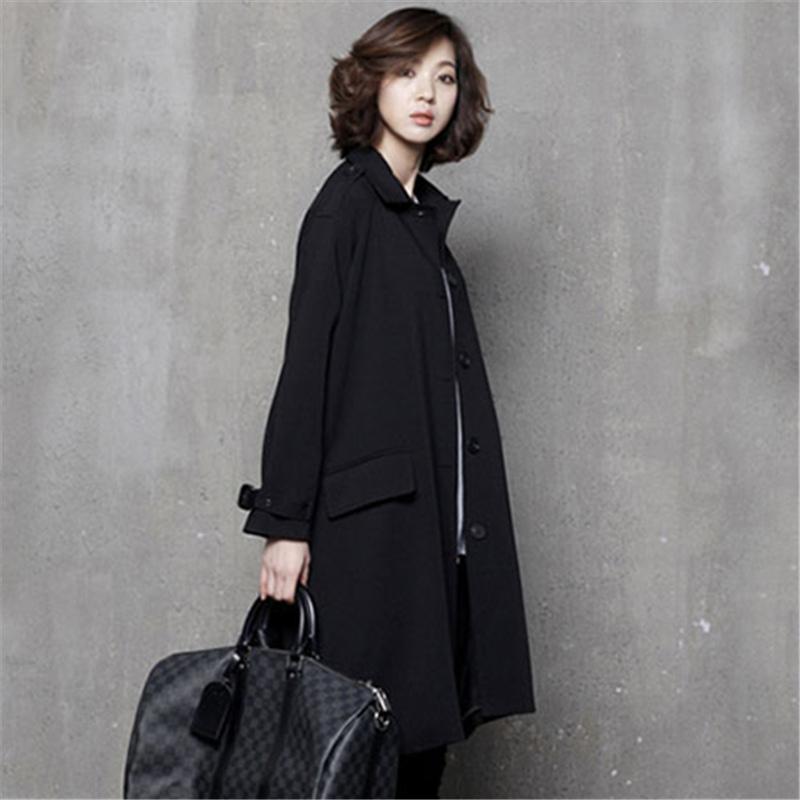 风衣女中长款韩版宽松冬装外套