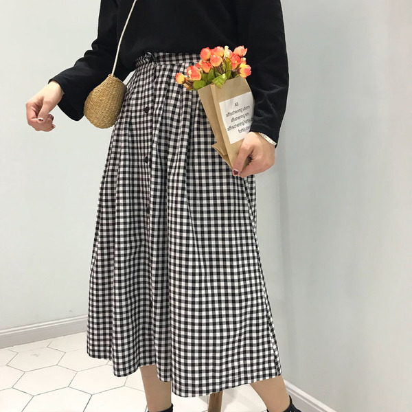 New College Wind Retro Wild High Waist Thin Female Plaid Skirt