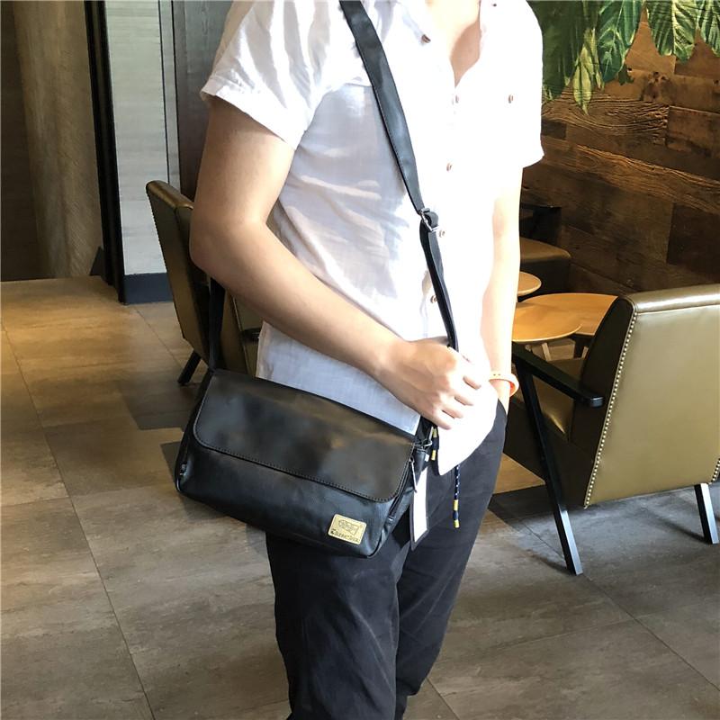 threebox潮男斜挎背包休闲男士翻盖单肩包复古横款斜跨手机包