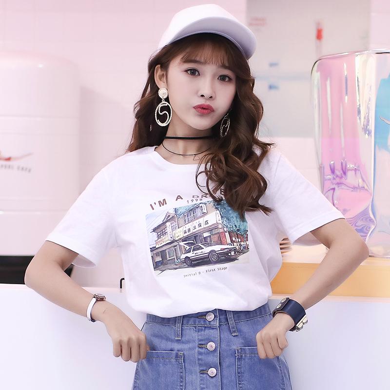短袖女T恤2018夏装新款韩版学生宽松百搭圆领体恤白色纯棉打底衫