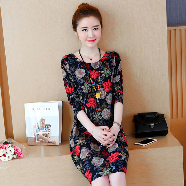 New Long-Sleeve Large Size Women Cotton Linen Printed Dress