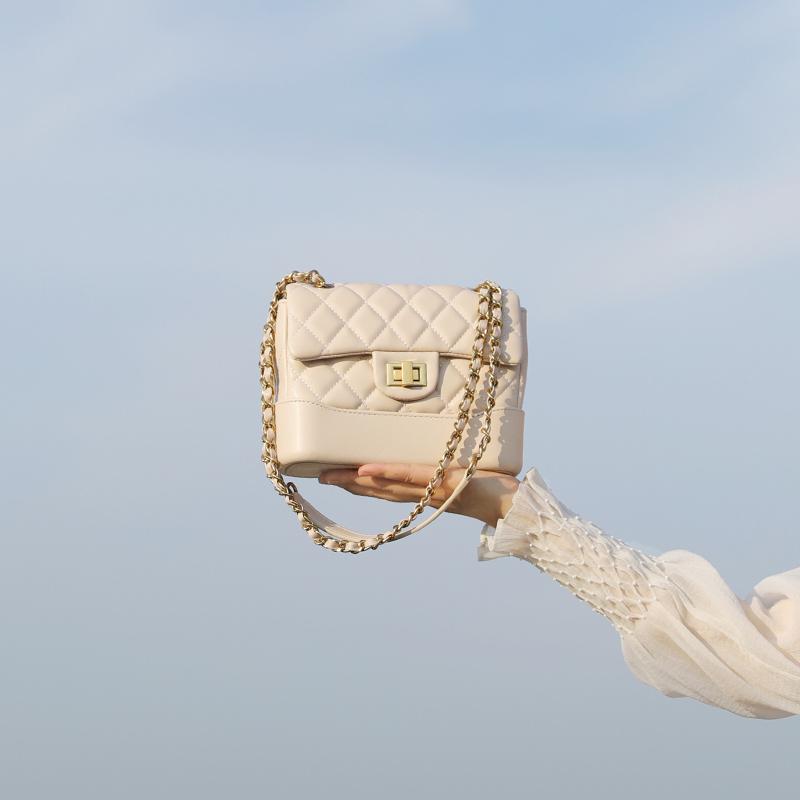 JACDBAG 质感 小香风菱格链条小方包新款包包女锁扣斜挎小包
