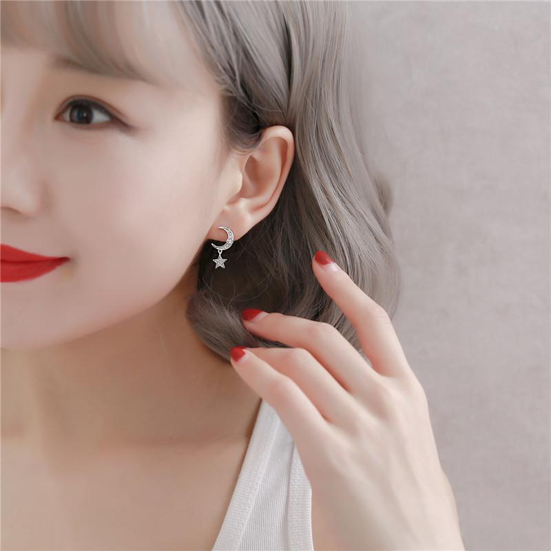 925纯银针百搭星星月亮吊坠耳钉女耳环耳坠气质韩国个性网红耳饰