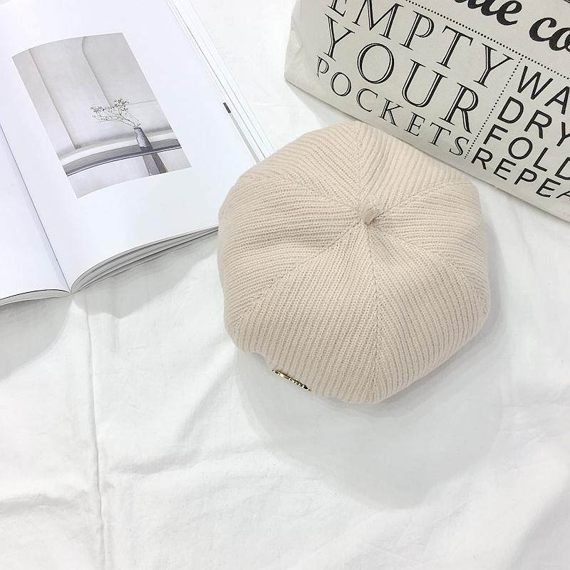 实拍春季新款韩版复古chic风蓓蕾帽甜美纯色加厚针织毛线贝雷帽