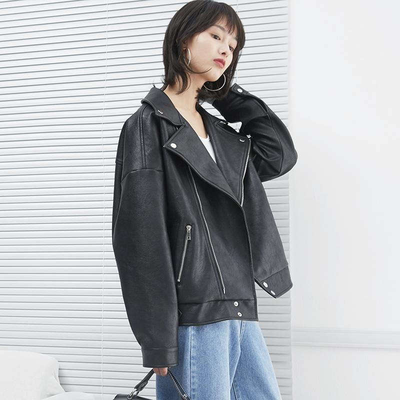 Chơi đẹp trai da nhỏ phụ nữ đoạn ngắn PU Hàn Quốc phiên bản của quá khổ áo khoác da xe gắn máy áo khoác nữ eo haverice