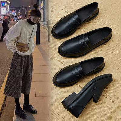 女神必备!一脚蹬英伦风纯色小皮鞋