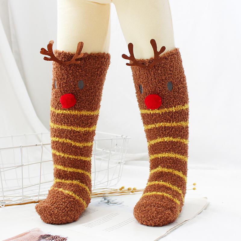 儿童冬季珊瑚绒长筒袜