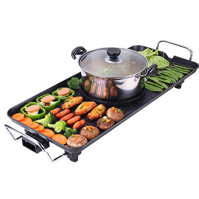 Korean-style Home Non-Stick Electric Barbecue Drill + Hot Pot 2 in 1