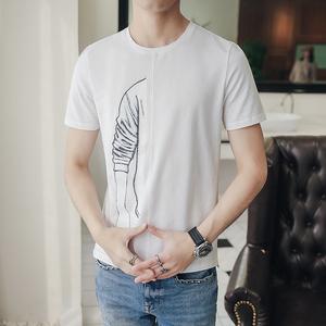 2018年夏装短袖手臂拼接T恤男潮装TX04-P45
