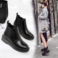 2017新款靴子秋冬季马丁女鞋复古英伦风平跟裸靴平底短靴女靴棉鞋