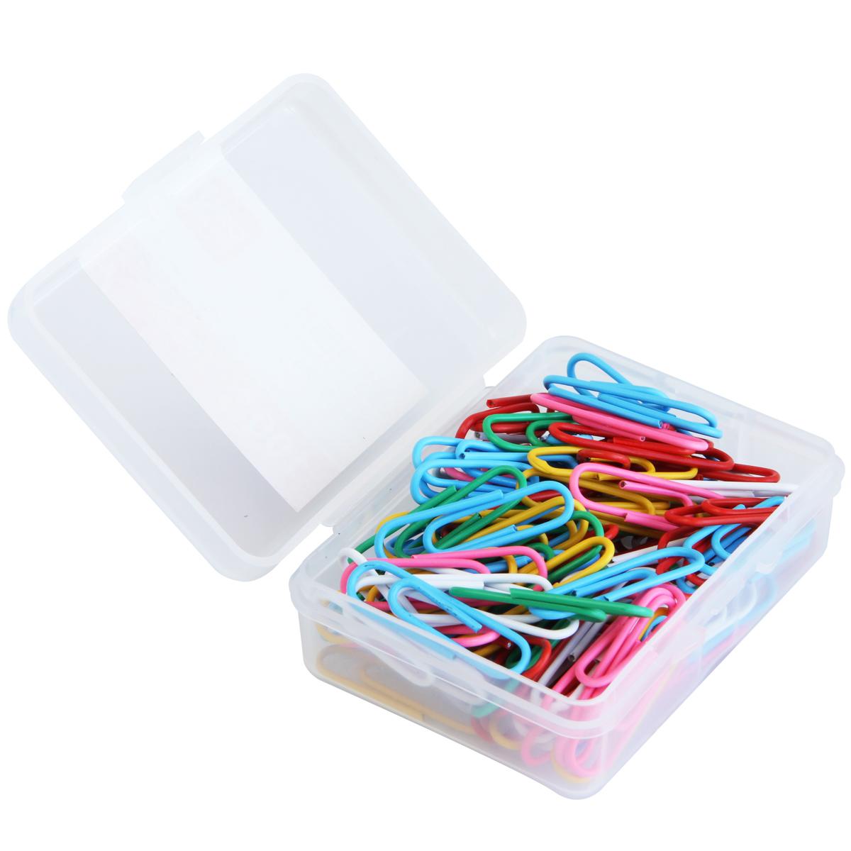 6盒得力0024回形针 彩色办公回行针 分类整理曲别针 塑料盒装