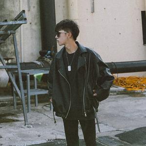 Mùa xuân và mùa thu đường phố xu hướng gió xiên dây kéo xe máy phù hợp với đẹp trai giả da nam da của Hàn Quốc thanh niên lỏng áo khoác