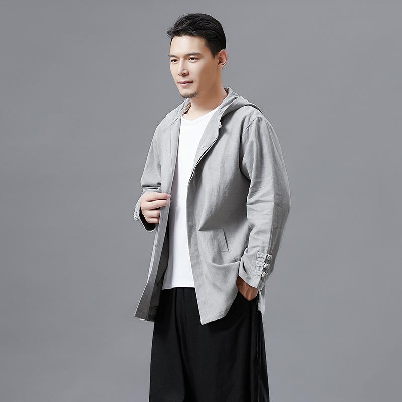 2019 Mùa xuân Áo khoác nam mới Retro Một nút Áo cardigan Kiểu Trung Quốc Ramie Trang phục dân tộc - Trang phục dân tộc