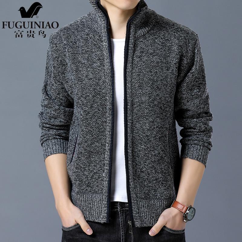 富贵鸟秋冬季新款韩版潮流针织衫男士夹克外套修身男拉链开衫1