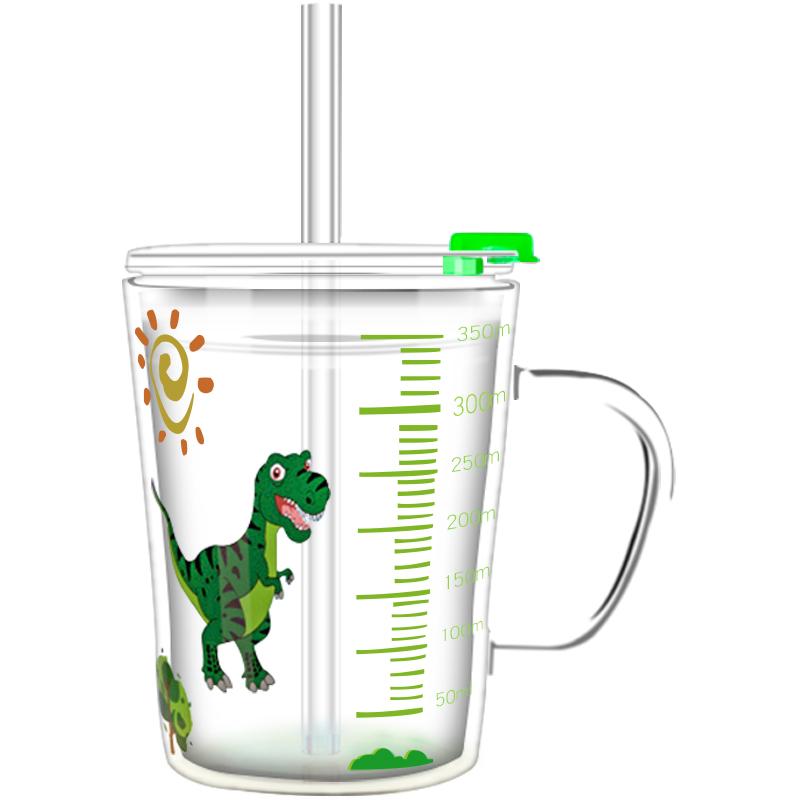 利鲁奇儿童牛奶杯宝宝喝奶杯冲奶粉吸管杯专用玻璃杯带刻度可微波