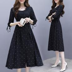 实拍V领赫本长裙女春装新款韩版七分袖收腰显瘦冷淡风波点连衣裙
