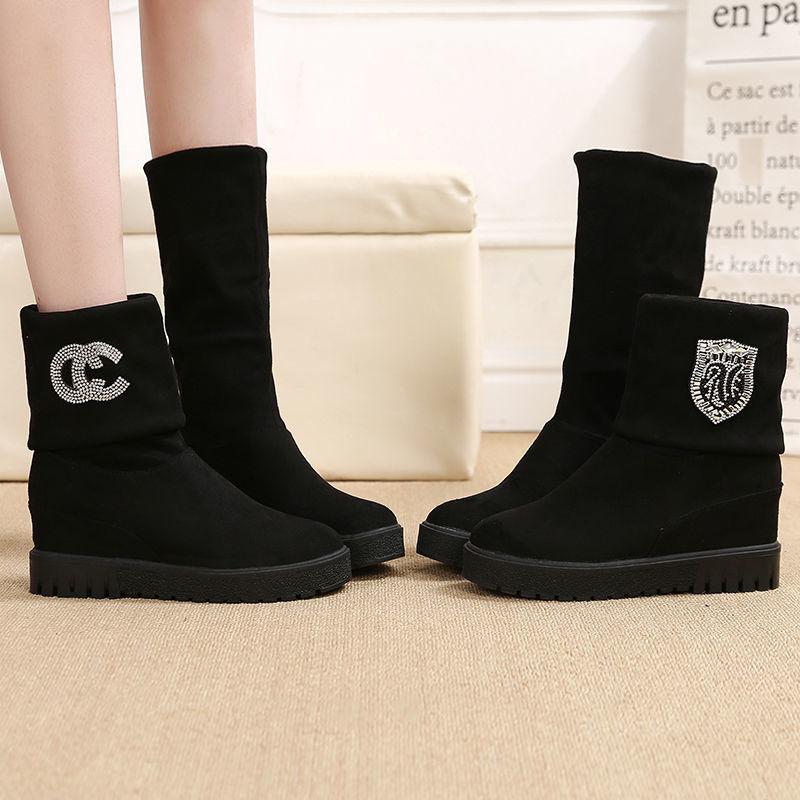 秋冬短靴韩版百搭内增高长筒中筒两穿女靴