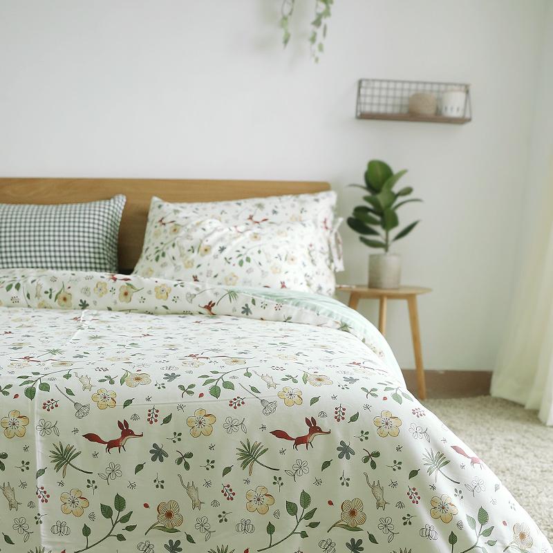 小米馍馍    森林的狐狸    碎花叶子被套床品 40s长绒棉四件套