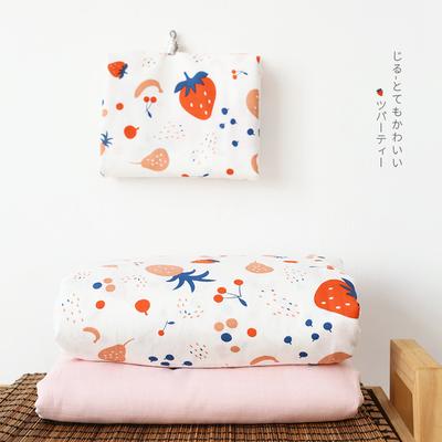 小米馍馍 | 小萝莉草莓 | 纯棉双层纱床单床笠款四件套 冬季床品