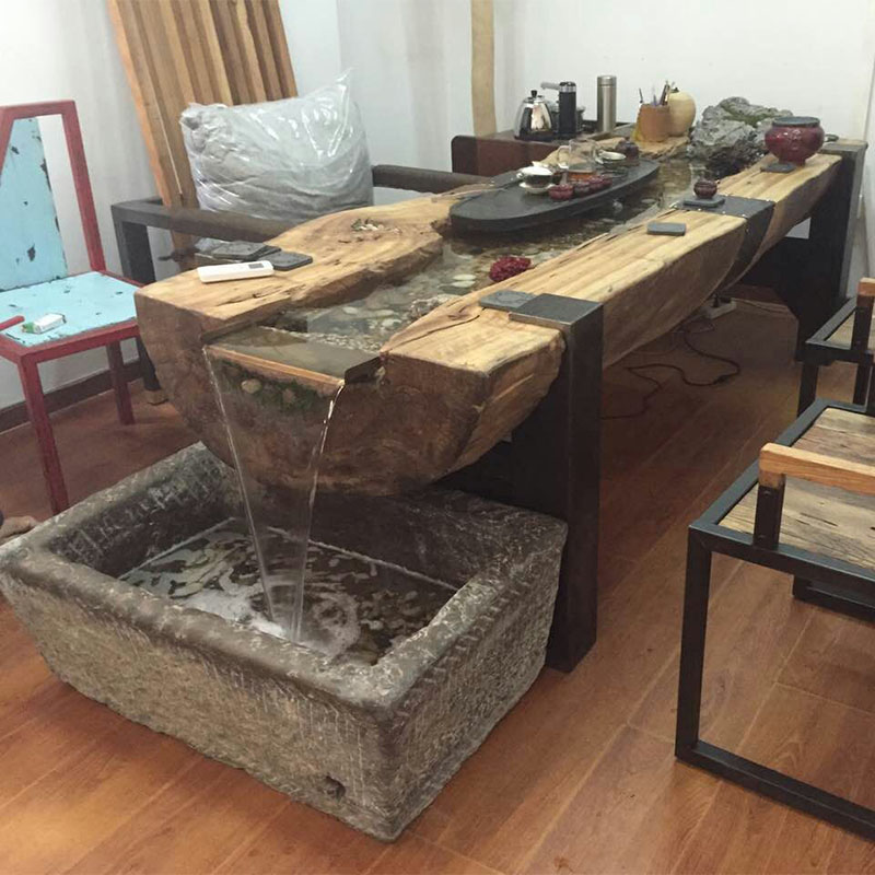 Elm Tree Trunk Solid Wood Fish Water Tea Table And Chair Combination Zen Tea  Table Creative Kung Fu Coffee Table Chinese Tea Table SGshop