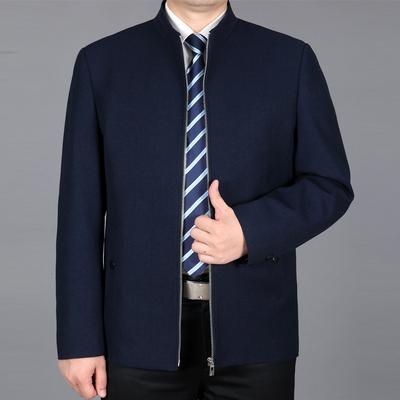 Pierre Cardin 18 mùa xuân mới người đàn ông trung niên cổ áo cổ áo jacket cộng với phân bón XL daddy áo giản dị