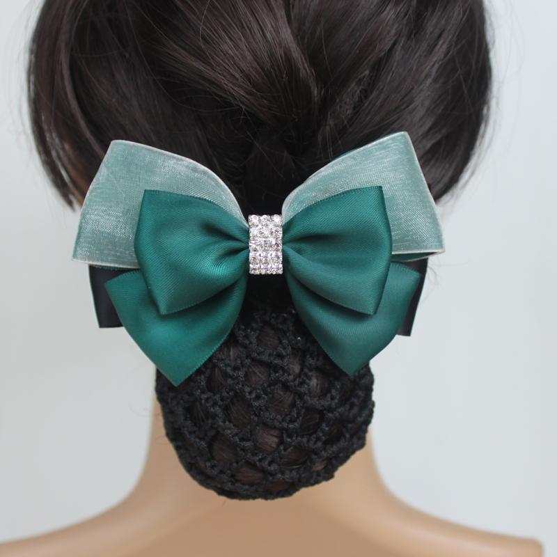 韩国紫蓝头饰玫瑰花发夹发卡网兜职业头花发网白领弹簧夹盘发满包