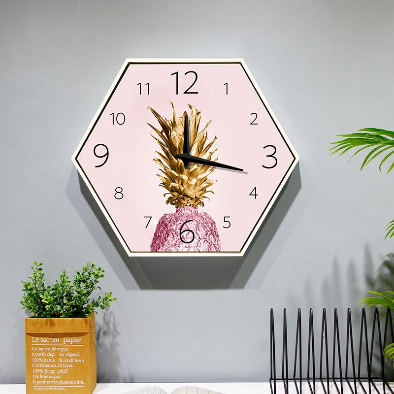 清新六邊形裝飾畫掛鐘 客廳鐘表現代簡約創意靜音臥室時鐘掛畫表