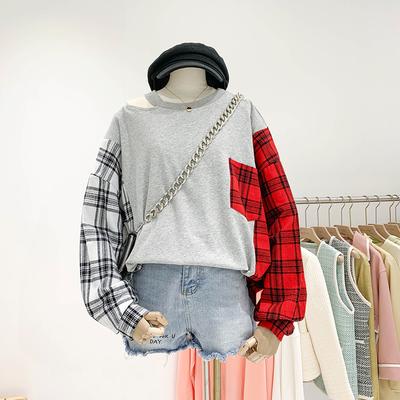 秋季新款设计感小众洋气心机圆领露肩格子衬衫袖拼接套头卫衣