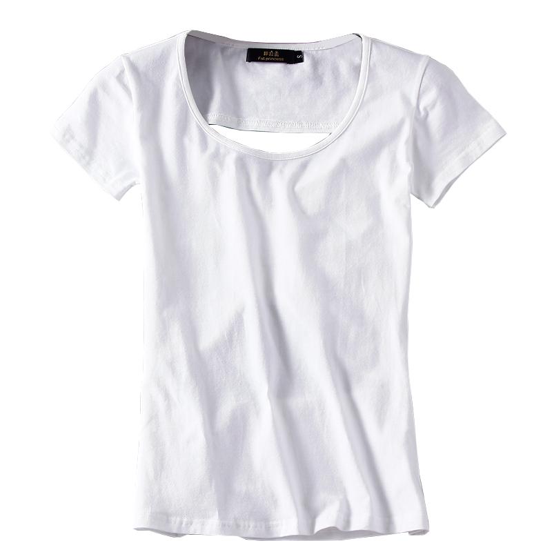 Mùa hè ngắn tay T-Shirt nữ cổ tròn không thường xuyên rỗng backless kích thước lớn Slim áo Hàn Quốc phiên bản của máy cẩn thận đáy áo