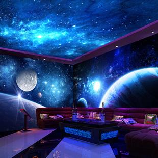 Сделанный на заказ вселенная звезда стена бумага голубое небо крупномасштабный фреска спальня гостиная оспа доска потолок  KTV отели 3d обои