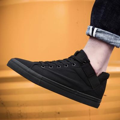 秋季透气纯黑高帮帆布鞋男内增高中帮全黑鞋上班工作鞋布鞋子