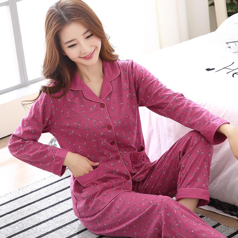 春秋睡衣女冬季纯棉长袖韩版中年妈妈女装可外穿加大码家居服套装