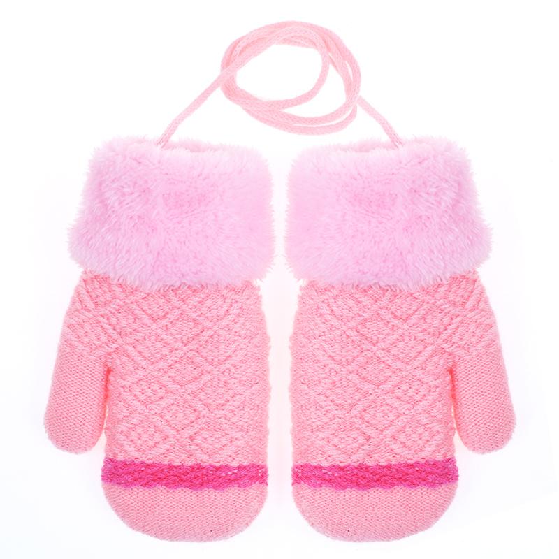 幼儿童手套冬季女童可爱加绒男孩女孩保暖卡通小孩公主挂脖连指