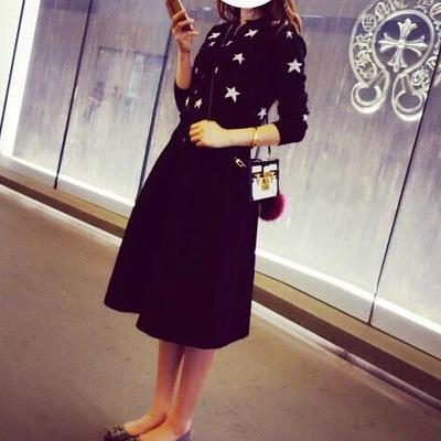 春装秋五角星星黑色显瘦圆领针织衫女开衫修身短款长袖打底衫