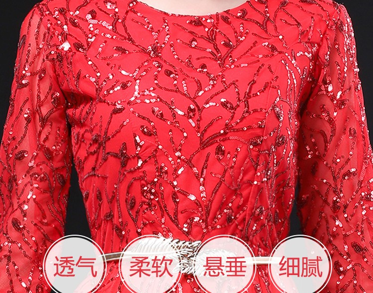 2019 new cantata performance costume female long skirt, Chinese style adult chorus performance costume sequin dress