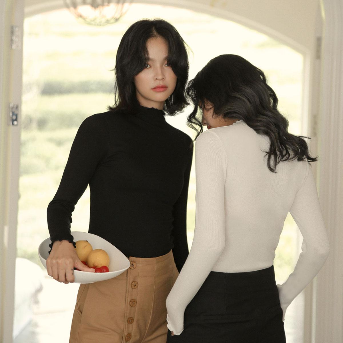 Áo lót nữ mùa xuân và mùa thu đông trung cổ áo len cotton dài tay mùa đông bó sát mùa thu áo khoác đáy áo mỏng phần - Áo ấm