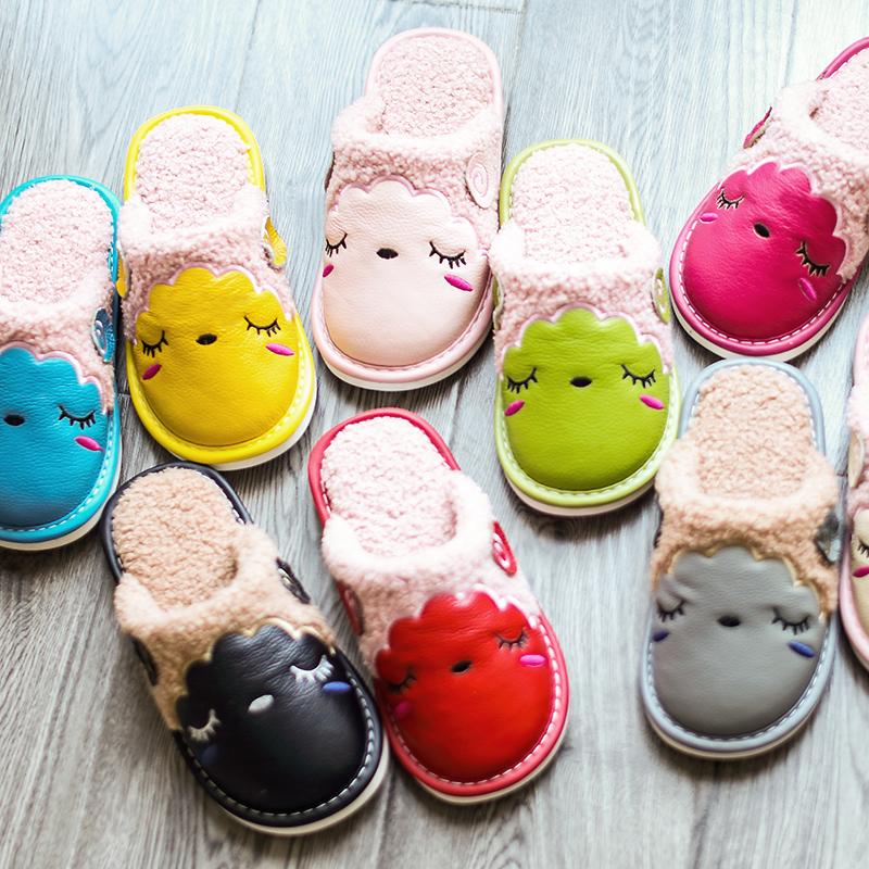 冬季室内防滑可爱真皮棉拖鞋