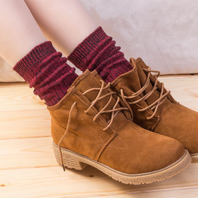 堆堆袜女韩国秋冬学院风推推袜女保暖棉袜中筒粗毛线款厚潮长袜子