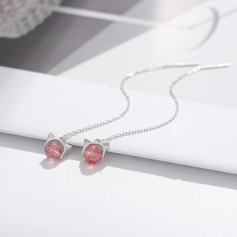 925纯银草莓晶猫咪耳线 可爱粉水晶耳坠女气质韩国个性长款耳环仙