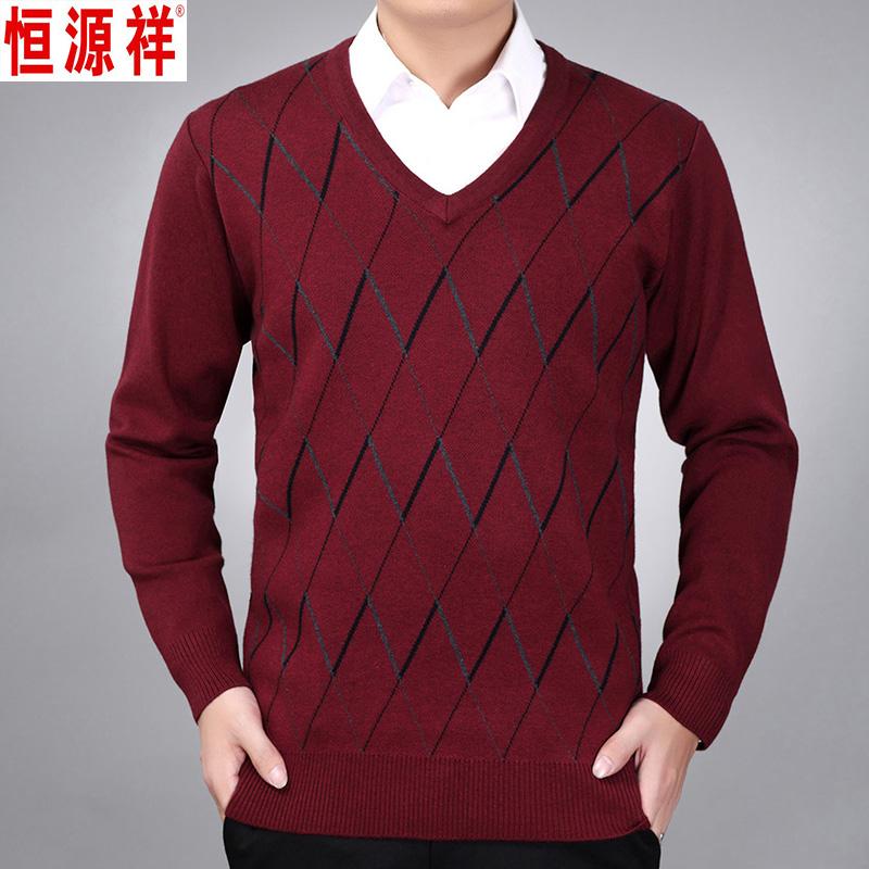 Mùa thu và mùa đông của cha mặc áo len nam trung niên và người già Áo len sinh nhật hình con gà đỏ hình trái tim cashmere - Áo len Cashmere