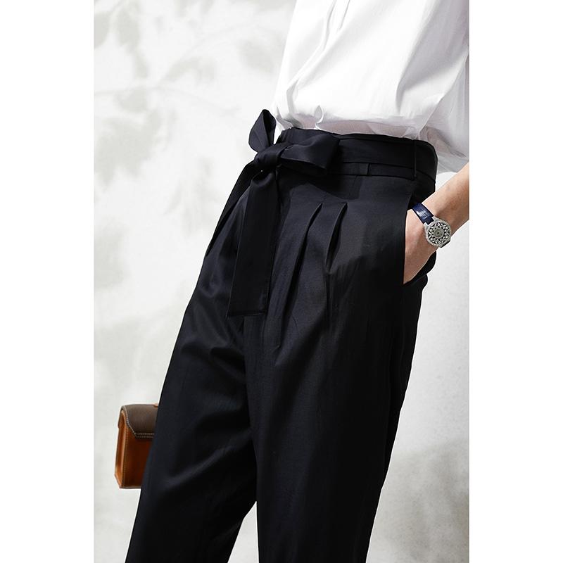 MLDKZ196 茉莉雅集日系通勤 舒爽顺滑 腰部叠层哈伦裤(赠腰带)