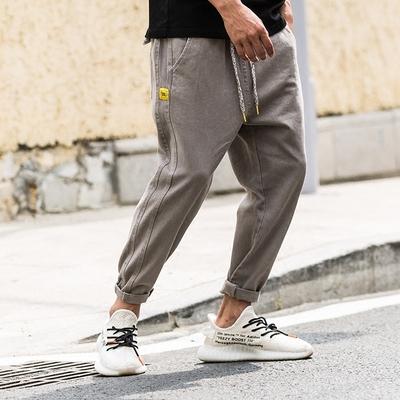 FNNKA mùa xuân và mùa hè hoang dã chín quần nam quần Nhật Bản rửa cũ retro quần âu sinh viên yếm thủy triều Crop Jeans